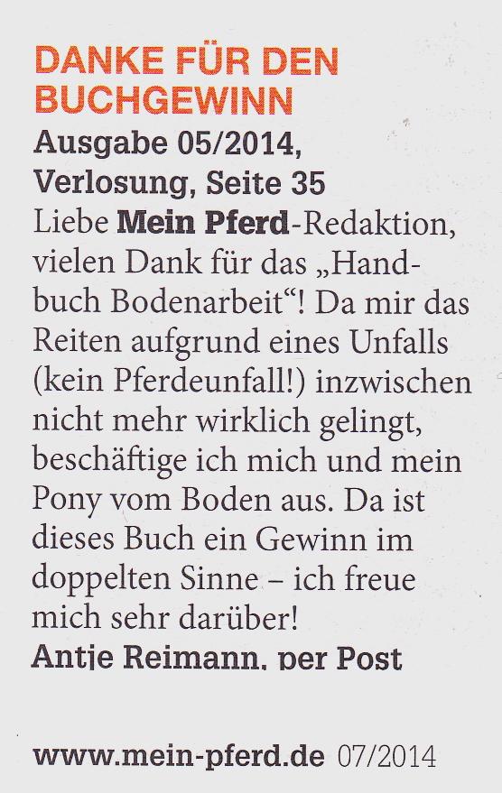 07-2014 Mein Pferd Leserbrief